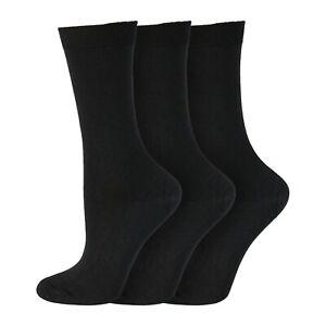 Ladies Extra Fine Knit Lightweight Warm Thermal Socks UK 4-8 EU 37-42 - BLACK