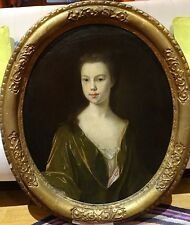 Large Circa 1720 Century French Master Portrait Girl Antique Painting MERCIER