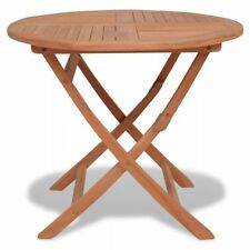 vidaXL Solid Teak Outdoor Folding Table Round 85cm Garden Dining Camping Picnic