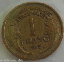1 franc morlon 1933 : TB : pièce de monnaie français