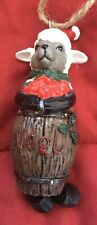 """Country Western Noel Christmas Ornament-3"""" Resin Sheep Lamb in a Barrell"""