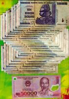 25 x 10 Billion Zimbabwe Dollars + 1 x 50,000 Vietnam Dong Banknotes Currency