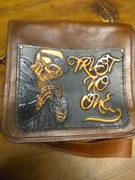 Messenger Bag. Trust No One. Comes with your name. Free. Handmade. 11x9x3.
