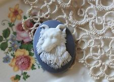 ~Cameo Collie Dog Button~Vintage Molded 40x30mm~White on Slate Blue~>^..^<