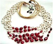 Vintage Freshwater Pearls & Ruby Beads 5 Strand Necklace Adjustable Length