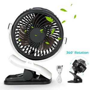 USB Rechargeable Mini Cooling Fan Clip Desk Baby Stroller Portable