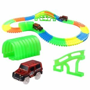 Race Track Car Toy For Boys Changeable Road Bend Flex Flash in the Dark Assembly