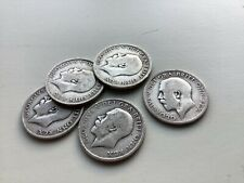 More details for group of five1915/1916 george v sterling silver shillings as shown
