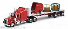 NEW RAY KENWORTH W900 FLAT BED W/ ROUND HAY AND FEEDER 1/32 Diecast SS-10363