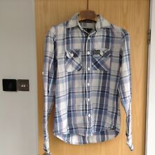 Superdry check long sleeved soft collar shirt - Size Medium