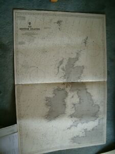 Vintage Admiralty Chart 2 THE BRITISH ISLES 1922 edn