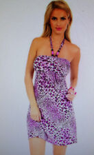 Christina Love  Women's Animal Print Purple Halter Dress Size Large NEW WITH TAG