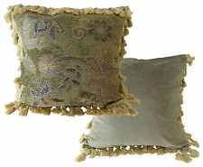 """LUXURY ROYAL GREEN GOLD TAPESTRY TASSELED CHENILLE THICK CUSHION COVER 18""""- 45CM"""