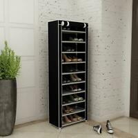 New 10 Tier Shoe Rack Shelf Standing Clost Cabinet Storage with Cover Black