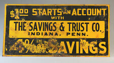 VINTAGE SAVINGS & TRUST TIN BANK SIGN The National Colortype Co. Newport, KY