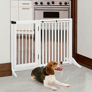 PawHut Freestanding Length Adjustable Wooden Pet Gate with Door 3 Panels White