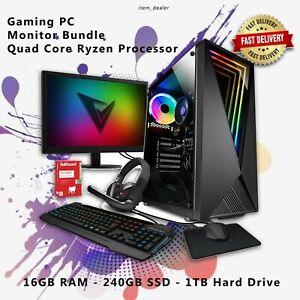 ViBox Desktop Gaming PC Windows 10 16GB RAM Quad Core 240GB SSD Monitor Bundle
