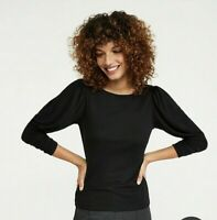 Ann Taylor Womens Puff Sleeve KNit Top Size Large L Black Shirt Blouse Stretch