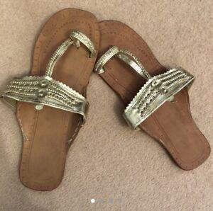 Gold 'kolhapuri' Indian / Ethnic Flat Sandals