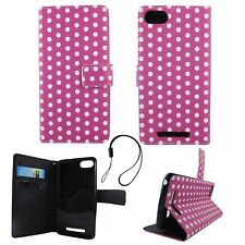 Protective Cover For Wiko Lenny 3 Polka Dot Purple Case Cover Book Style Wallet