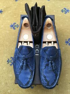 Gucci Mens Shoes Blue Snakeskin Leather Tassel Loafers UK 9 US 10 EU 43