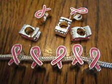 10 pc.  european ribbon beads PINK BREAST CANCER AWARENESS CHARMS, alloy enamel