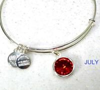 New Alex And Ani birthday Birthstone Bracelet Bangle RED RUBY JULY silver tone