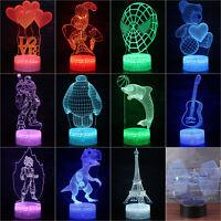 Home Decor 3D illusion Visual Night Light 7 Colors LED Desk Table Lamp Bedroom