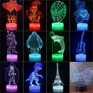 Kids 3D Lamp LED Night Light Visual Illusion 7 Colors Changing Touch Gifts Home