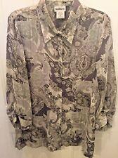 BonWorth Women's Semi Sheer Button Blouse 3/4 Sleeve Gray Floral Size Medium