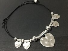 Black REAL LEATHER Choker Necklace With Hammered Metal love Hearts Boho Bijoux