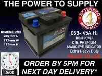 MARINE LEISURE BATTERY 45AH 390 CCA  063 12V HEAVY DUTY MAINTENANCE FREE O.E.