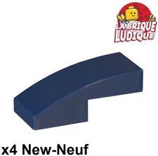 Lego - 4x Slope curved pente courbe 1x2 bleu foncé/dark blue 11477 NEUF