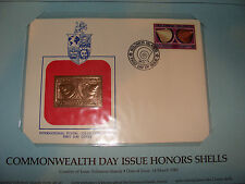 Solomon Islands FDC w/ 23 kt gold replica Stamp 1983 Commonwealth Day Shells