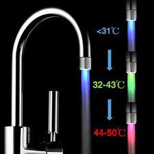 3 Color Rgb Temperature Sensor Led Light Kitchen Water Tap Faucet Glow Shower Us