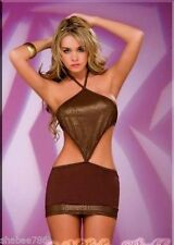 NWT 4003 Sexy Gold Brown Halter Club-wear Dance Exotic Rave DRESS M L