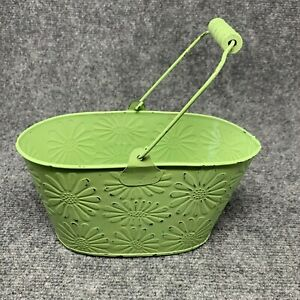 Rustic Country Decor Tin Container Lightweight with Handle Green Floral Textured
