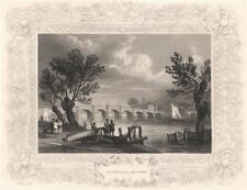 'Vauxhall Bridge'. London. Decorative view by William TOMBLESON 1835 old print