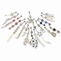 10 Randomly Pick   Belly Button Rings Dangle Surgical Steel 14g with Jewels