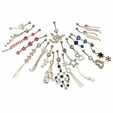 20 Fancy Belly Button Rings Dangle Surgical Steel 14g with Jewels