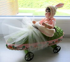 Antique Rabbit /Easter rabbit - bunny doll -chauffeur in mobile -car -Germany