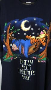 Disney Tiger & Eeyore Winnie The Pooh Navy Blue Sleep Shirt NWT