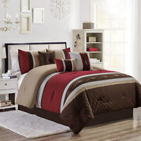 Chezmoi Collection 7-Piece Embroidered Pleated Stripe Comforter Set, Burgundy