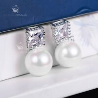 18k white gold made with square SWAROVSKI crystal pearl earrings 925 silver stud