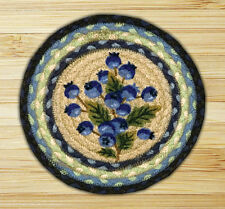 "BLUEBERRIES 100% Natural Braided Jute Swatch, 10"" Trivet/Placemat, by Earth Rugs"