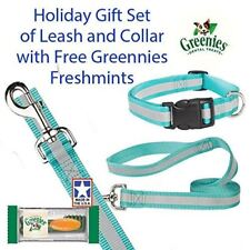 """Guardian Gear Reflective Bluebird Large Dog 4FT. Leash/6-10"""" Collar Set With Fre"""