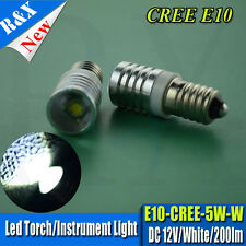 1 x DIY LED Lamp Bulb 12V White CREE 5W MES 1447 E10 Screw LENS Torchlight 200LM