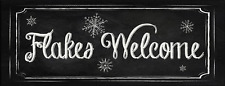 Flakes Welcome Metal Sign, Holiday, Christmas, Winter, Snow