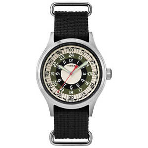 Timex Men's Watch Todd Snyder MOD Black, Cream and Green Dial Strap TW2R78900JR