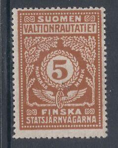 Finland HS 50 var MLH. 1921 5mk Railway Stamp, Thin Paper variety